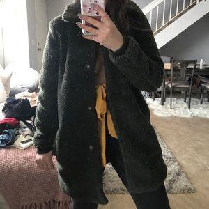 Faux fur collar coat army green